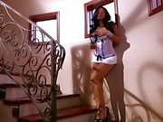 Blistering Kiara Mia plays with herself on the stairs