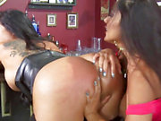 Raunchy Latinas Kiara Mia & Nina Mercedez fucking in bar