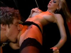 Brooke Banner in black stockings gets pussy licked before hardcore fuck