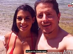 Sexy threesome at the beach in holiday FFM Public POV