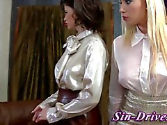 Clothed glamour babes sucking cock