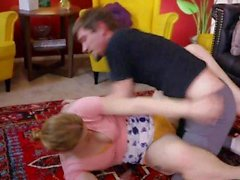 'Sexy Gamer Girl Ella Nova Naked Wrestling Sitting On Sam's Face While Jerking Him Off'