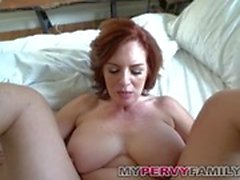 Horny Busty Milf Andy Fucks Her Step Sons Big Cock!