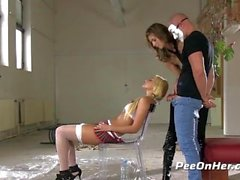 Taboo Piss Play Threesome with Mistress Charlotte