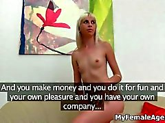 Blonde slim babe would like to become a model