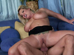 Blonde devours a cock before she's fucked