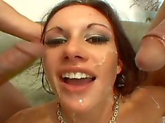 Sexy brunette gets dped into a massive orgasm
