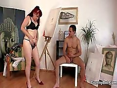 Horny granny games with young guy