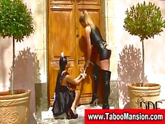 Lesbo dominatrix spanks hot maid