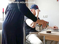 Arab pummeling in kitchen