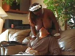Ebony maid fucking a billionaire's cock
