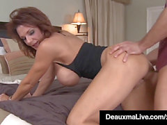 Busty Cougar mom Deauxma deepthroats & bangs Young Friend's Cock!
