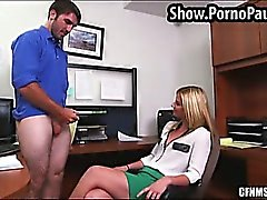 Secretary jerks off her boss