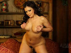 Aria Giovanni does a striptease then spreads her hairy pussy