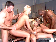 PrivateBlack Amy Brooke Carla Cox & Bobbi Starr bang three boys