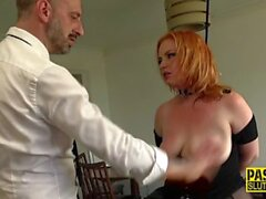 Bound ginger submissive