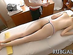 Hot oral sex is performed inside the massage room