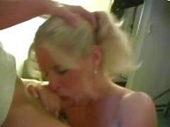 Blonde Mandy can't pay the rent so she sucks landlord's cock