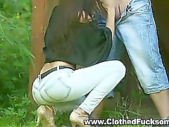 Clothed outdoors jeans sex