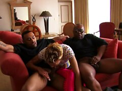 Horny amateur ebony girl double stuffed by two BBCs