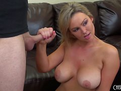 Busty babe Abbey Brooks gets drilled and opens up for a mouthful