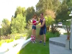 bony young girl has private trainer