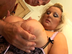 Old Lewd Man Fucks His Blonde BBW Service Girl
