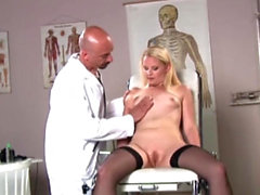 Tight ass of slim blonde filled by tricky doctors big cock
