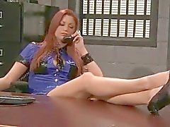 Redhead Prison Guard Does Cavity Search with Strapon