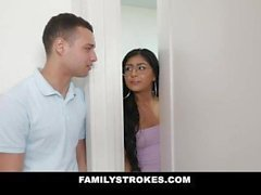 Family Strokes - She Seduces Her Step Brother While Mom's Home
